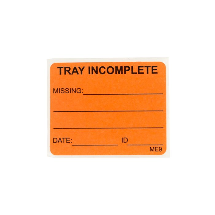 Label - Tray Incomplete